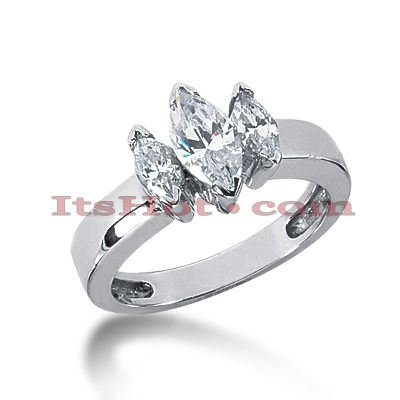 Thin 18K Gold Diamond Three Stones Engagement Ring 1.25ct Main Image