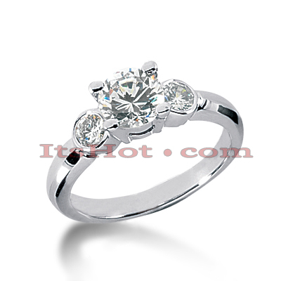 Thin 18K Gold Diamond Three Stones Engagement Ring 1.40ct Main Image