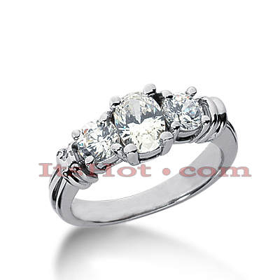 Thin 18K Gold Diamond Three Stones Engagement Ring 1.45ct Main Image