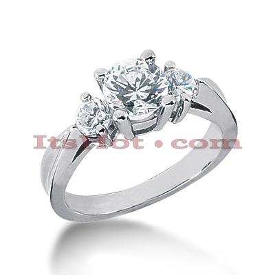Thin 18K Gold Diamond Three Stones Engagement Ring 1.50ct Main Image