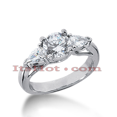 Thin 18K Gold Diamond Three Stones Engagement Ring 1.54ct Main Image