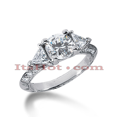 Thin 18K Gold Diamond Three Stones Engagement Ring 1.58ct Main Image