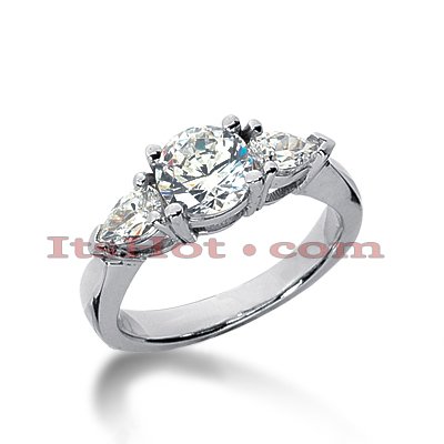Thin 18K Gold Diamond Three Stones Engagement Ring 1.60ct Main Image