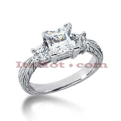 Thin 18K Gold Diamond Three Stones Engagement Ring 1.65ct Main Image