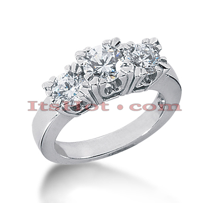 Thin 18K Gold Diamond Three Stones Engagement Ring 1.75ct Main Image