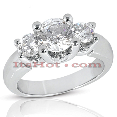 18K Gold Diamond Three Stones Engagement Ring 1.82ct Main Image