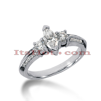 Thin 18K Gold Diamond Three Stones Engagement Ring 1ct