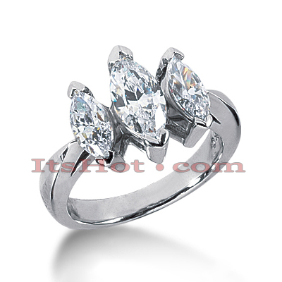 Thin 18K Gold Diamond Three Stones Engagement Ring 2.25ct Main Image