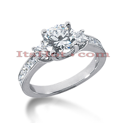 Thin 18K Gold Diamond Three Stones Engagement Ring 2.28ct Main Image