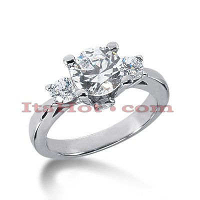 18K Gold Diamond Three Stones Engagement Ring 2.60ct Main Image
