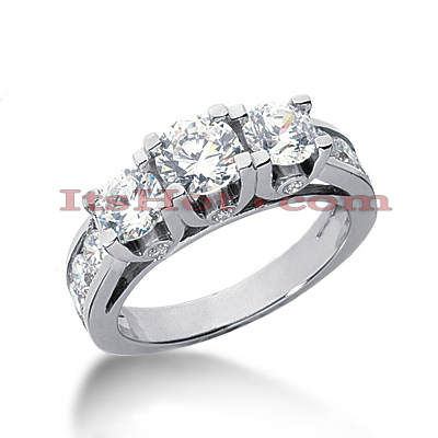 18K Gold Diamond Three Stones Engagement Ring 2.64ct Main Image