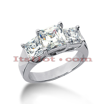 Thin 18K Gold Diamond Three Stones Engagement Ring 2ct Main Image