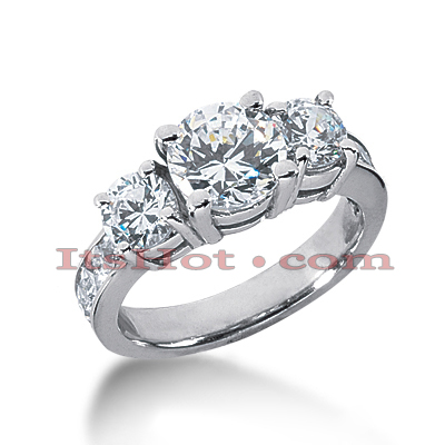 Thin 18K Gold Diamond Three Stones Engagement Ring 3.20ct