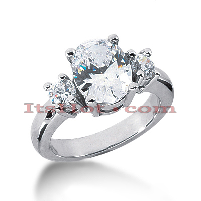 Thin 18K Gold Diamond Three Stones Engagement Ring 3.50ct Main Image