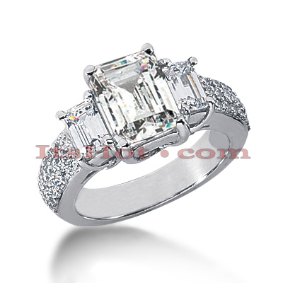 18K Gold Diamond Three Stones Engagement Ring 3.94ct