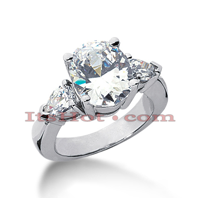 Thin 18K Gold Diamond Three Stones Engagement Ring 5ct Main Image