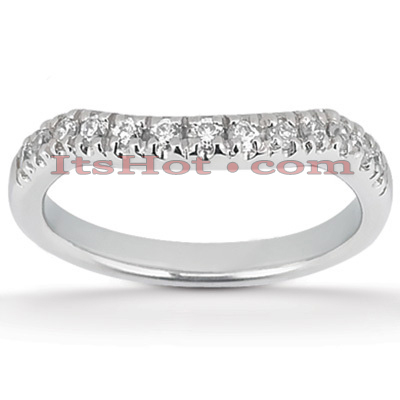 Thin 18K Gold Diamond Wedding Band 0.33ct 2.4mm Main Image