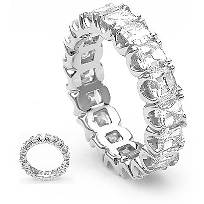 18K Gold Eternity Ring w Asscher Cut Diamonds 4.5ct Main Image