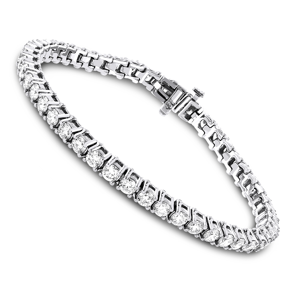 18K Gold Inline Round Diamond Tennis Bracelet for Women 6.69ct VS Diamonds White Image