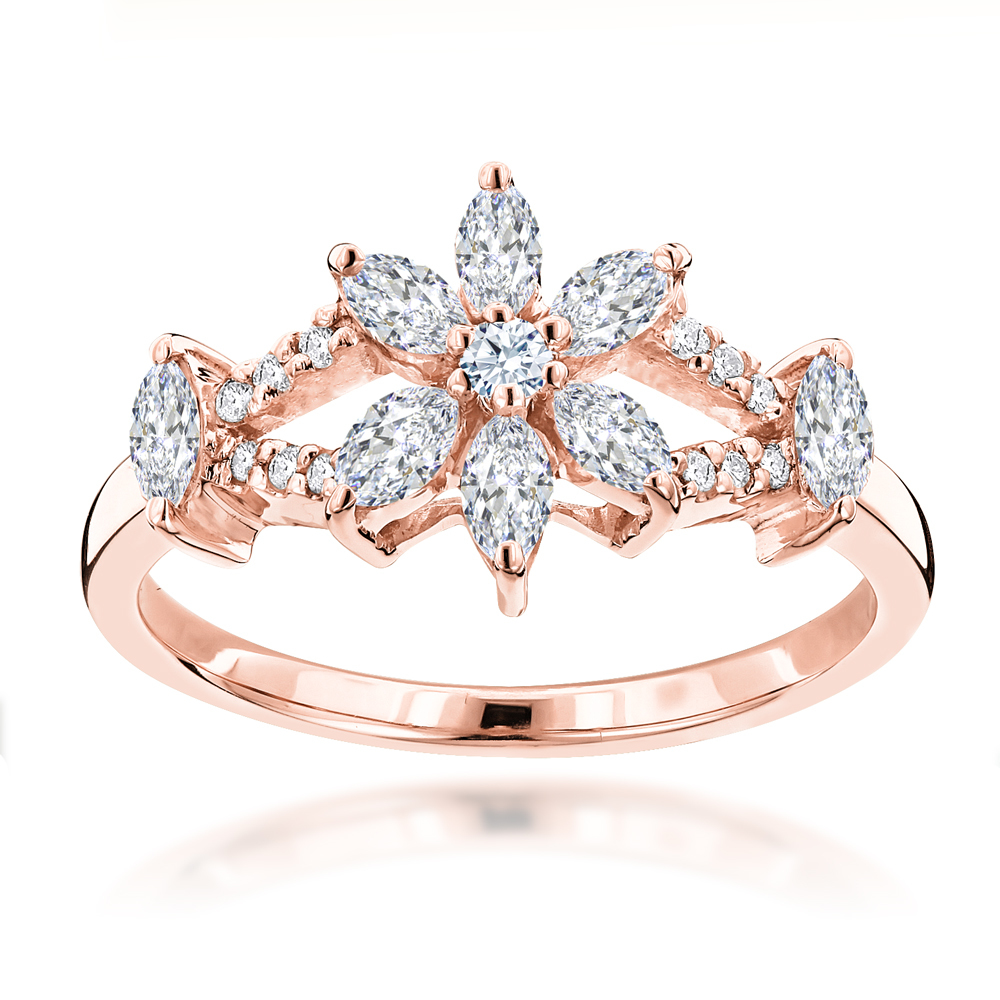 Unique 18K Gold Ladies Diamond Ring Flower Design 0.91ct by Luxurman Rose Image