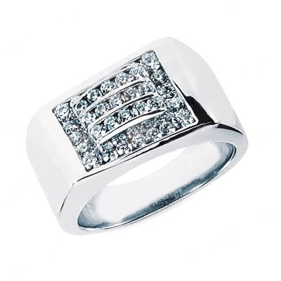 18K Gold Men's Diamond Ring 0.98ct Main Image