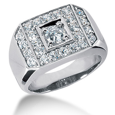 18K Gold Men's Diamond Ring 1.07ct