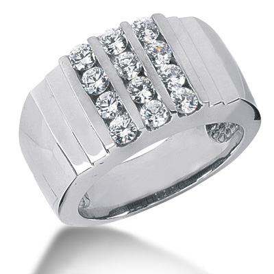 18K Gold Mens Diamond Ring 1.20ct Main Image