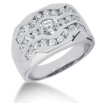 18K Gold Men's Diamond Ring 1.34ct