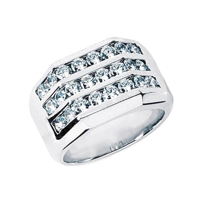 18K Gold Men's Diamond Ring 1.68ct