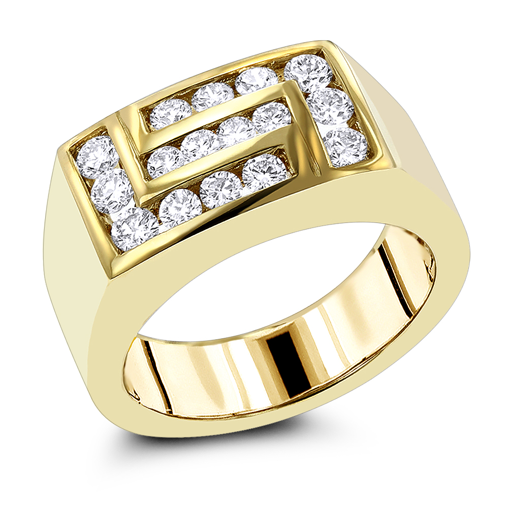 18K Gold Mens Diamond Ring 1ct by Luxurman Yellow Image