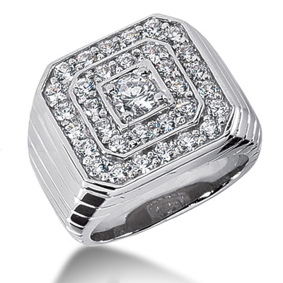 18K Gold Men's Diamond Ring 2.99ct Main Image