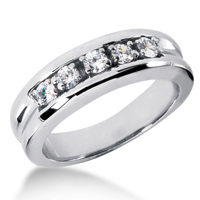 18K Gold Men's Diamond Wedding Band 0.50ct Main Image