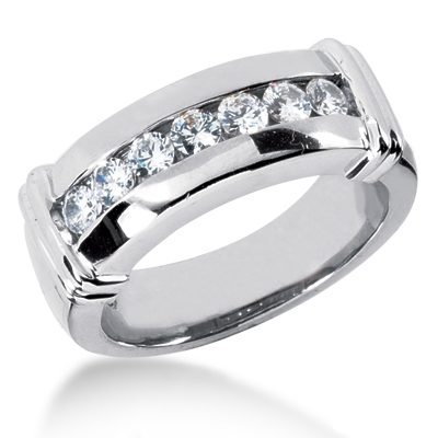 18K Gold Men's Diamond Wedding Band 0.70ct Main Image