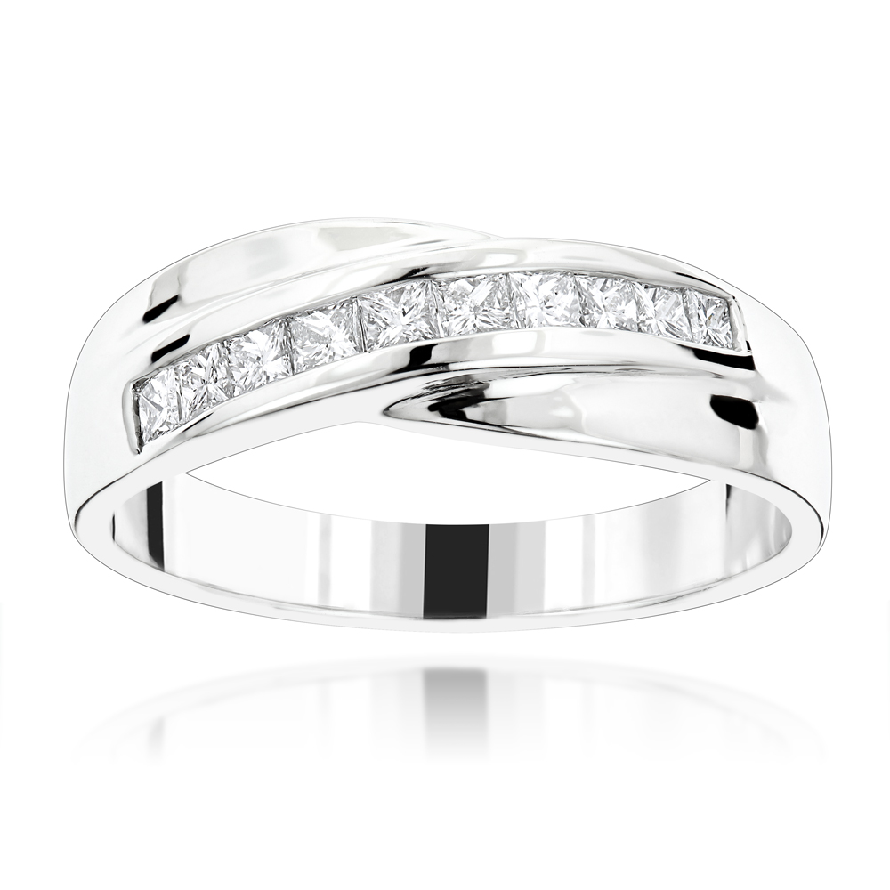 18K Gold Men's Diamond Wedding Band 1ct White Image