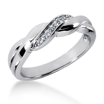 18K Gold Men's Diamond Wedding Ring 0.10ct Main Image
