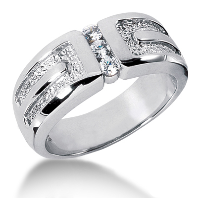 18K Gold Men's Diamond Wedding Ring 0.24ct Main Image