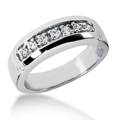 18K Gold Men's Diamond Wedding Ring 0.28ct Main Image