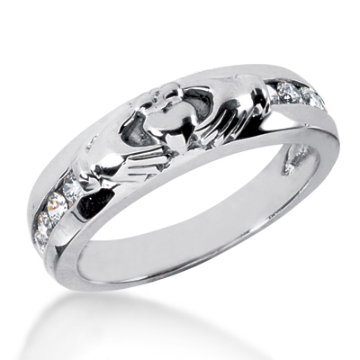 18K Gold Men's Diamond Wedding Ring 0.32ct Main Image