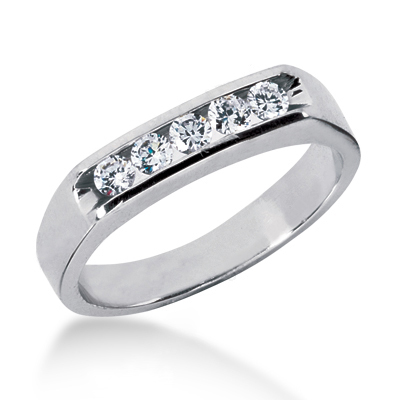 18K Gold Men's Diamond Wedding Ring 0.35ct Main Image