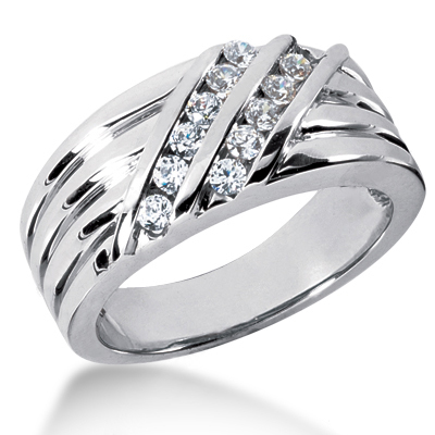 18K Gold Men's Diamond Wedding Ring 0.48ct Main Image