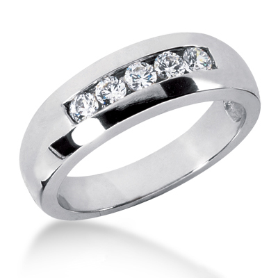 18K Gold Men's Diamond Wedding Ring 0.50ct 6.5mm Main Image