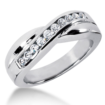 18K Gold Men's Diamond Wedding Ring 0.55ct Main Image