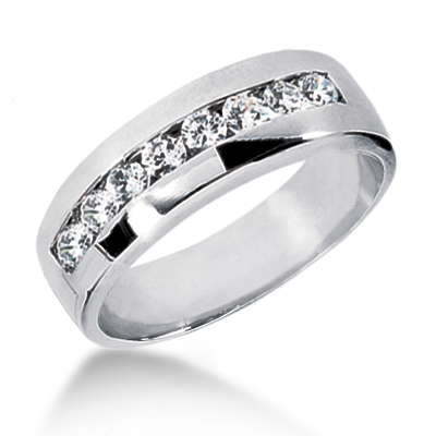18K Gold Men's Diamond Wedding Ring 0.56ct Main Image