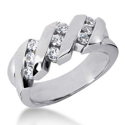 18K Gold Men's Diamond Wedding Ring 0.72ct Main Image