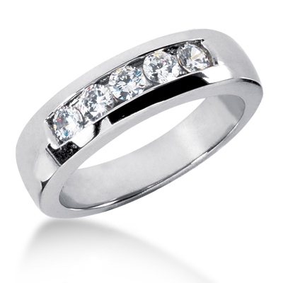 18K Gold Men's Diamond Wedding Ring 0.75ct