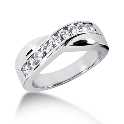 18K Gold Men's Diamond Wedding Ring 0.77ct