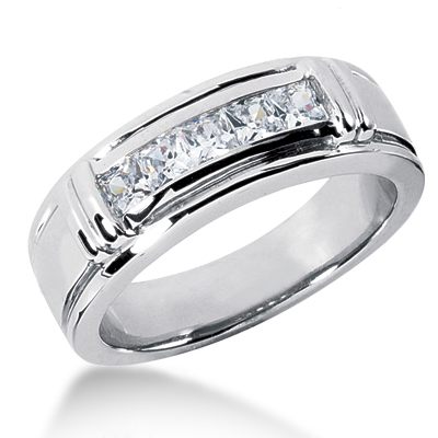 18K Gold Men's Diamond Wedding Ring 0.85ct