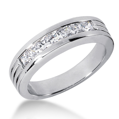 18K Gold Men's Diamond Wedding Ring 0.98ct Main Image