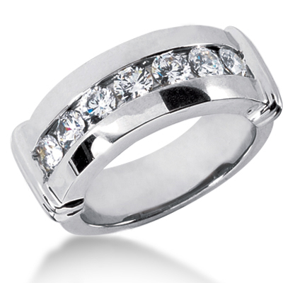 18K Gold Men's Diamond Wedding Ring 1.05ct Main Image