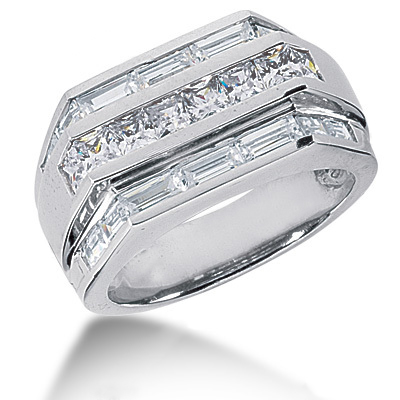 18K Gold Men's Princess & Baguette Diamonds Ring 2.76ct Main Image